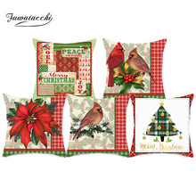 Fuwatacchi Merry Christmas Cushion Cover Pillowcases Red Bird Flower Throw Pillow Case Cover for Home Sofa Decorative Pillows