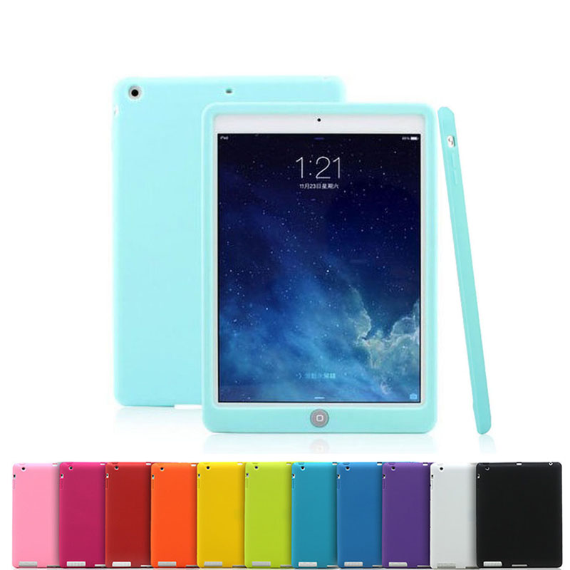 Soft Silicone Tablet Case For iPad 9.7 Inch Drop Resistance Rugged ShockProof Bumper Cover For iPad 9.7 Tablet A1822 A1823 2017 image