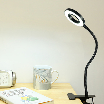 Zerouno Led Lamp clip Reading Light USB Power black Flexible hose table Desk book Headboard study LED light clip dimmable bright