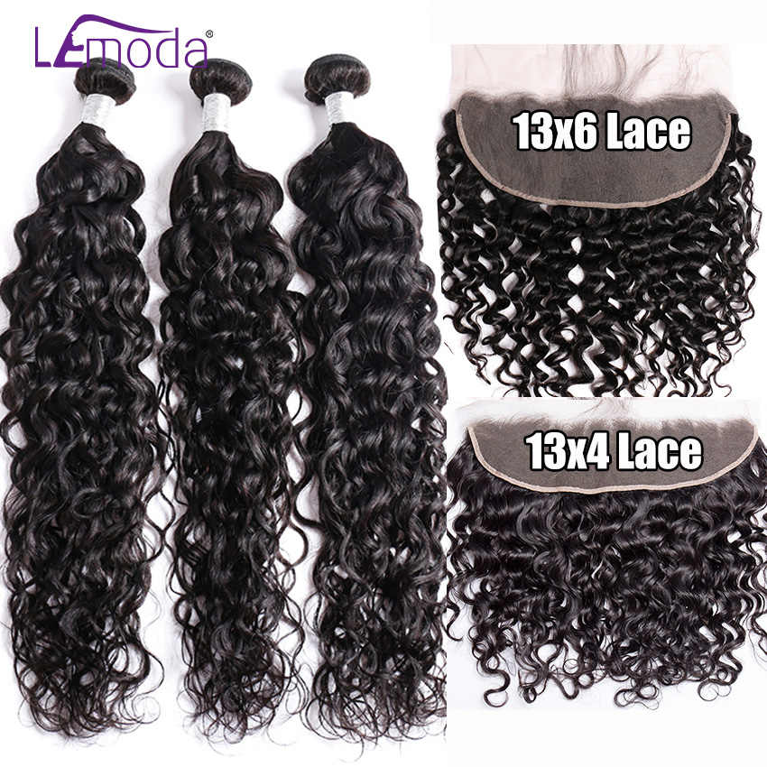 Water Wave Human Hair Bundles With Frontal Closure Brazilian Hair Weave Bundles With 13X6 13X4 Lace Frontal Closure Remy Hair