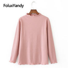 Ruffles Knitted Tops Autumn T-shirts Women Plus Size Casual Solid Long Sleeve KKFY3918