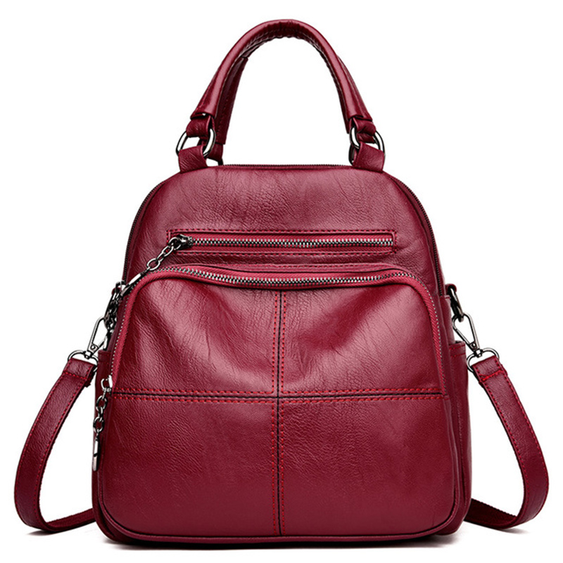 Multifunction Women Backpacks Female Shoulder Bag School Bags For Teenage Girls Designer Leather Women Travel Backpack MochilaBackpacks   -