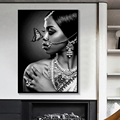 Black White Jewellery Indian Women with Butterfly Canvas Painting Posters and Print Wall Art Picture for Living Room Wall Decor