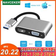 2020 USB 3.0 HDMI VGA adaptörü Mac OS USB VGA HDMI adaptörü 1080P dönüştürücü desteği HDMI VGA Sync çıkış Windows7/8/10