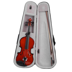 Solid-Wood Violin Acoustic Professional Full-Size Rosin Case Fiddle Natural with Bow