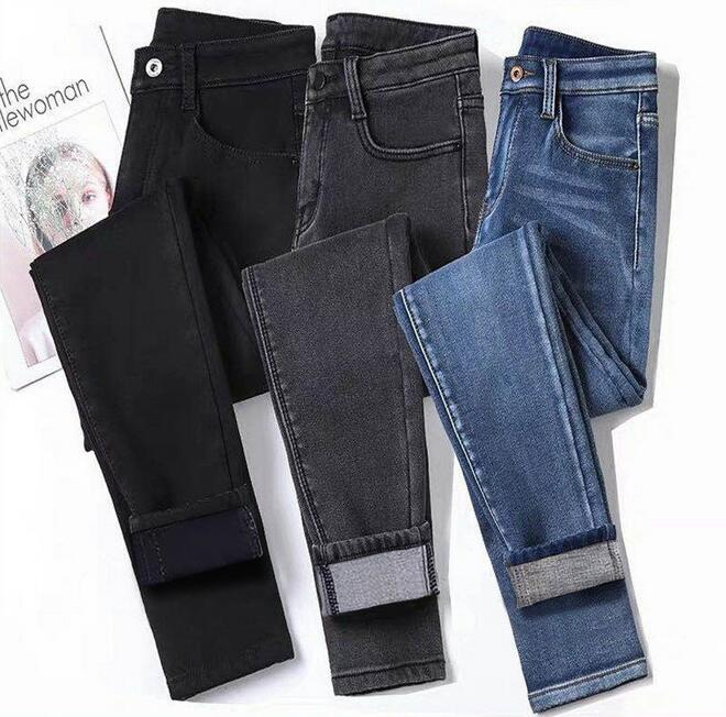 New Stretch Jeans Women's High Waist Skinny Was Thin And Large Size Spring And Autumn Nine Points Small Feet Pants KP3319-01-11