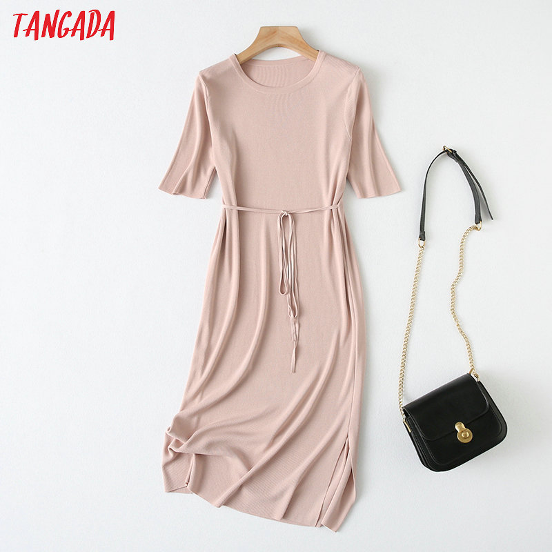 Tangada Fashion Women Solid Summer Knit Dress Short Sleeve With Slash Ladies Work Midi Dress Vestidos YU69