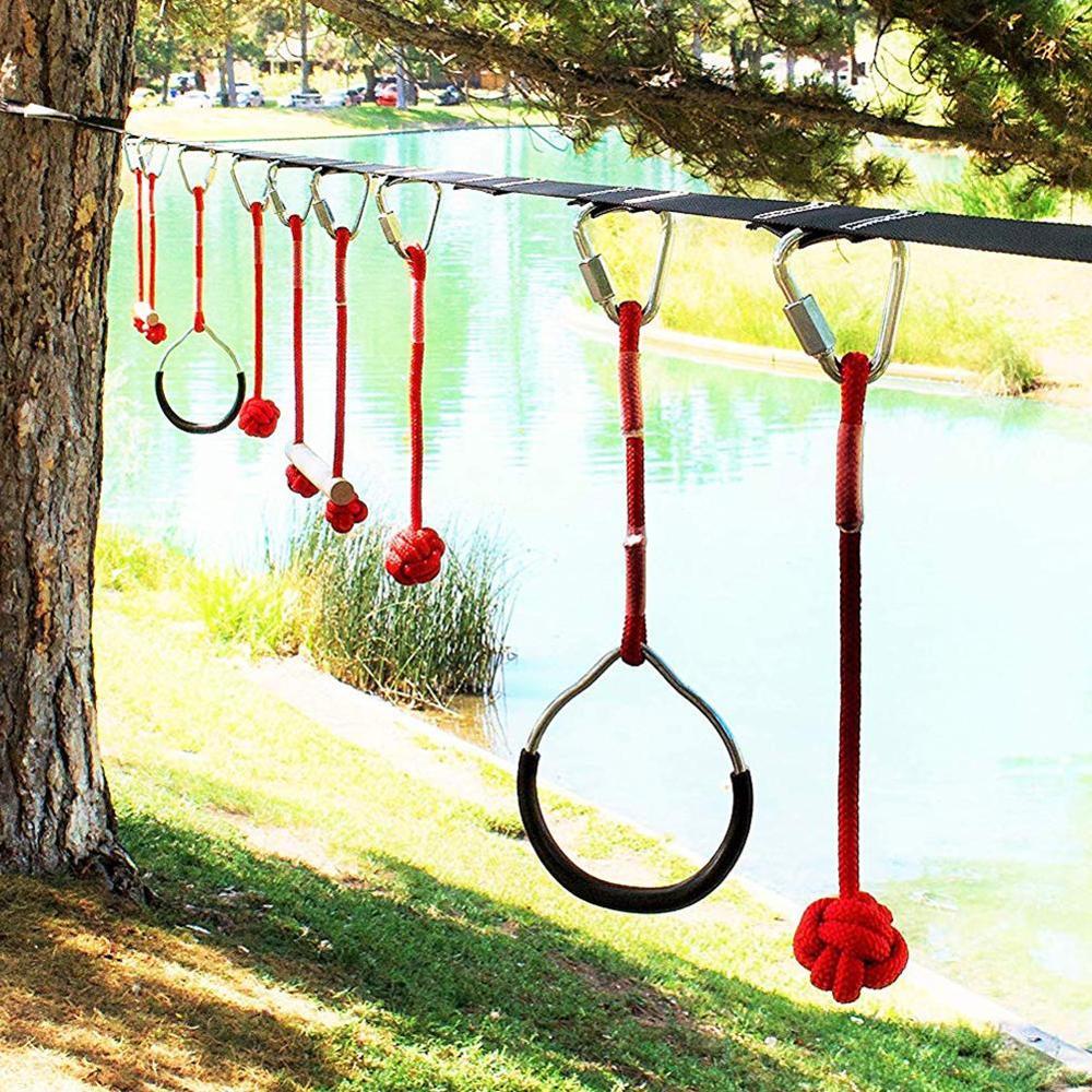 Children's Ninja Rope Obstacles Sling Training Equipment Ring Monkey Pole Outdoor Physical Combination Slackline Bar Kit