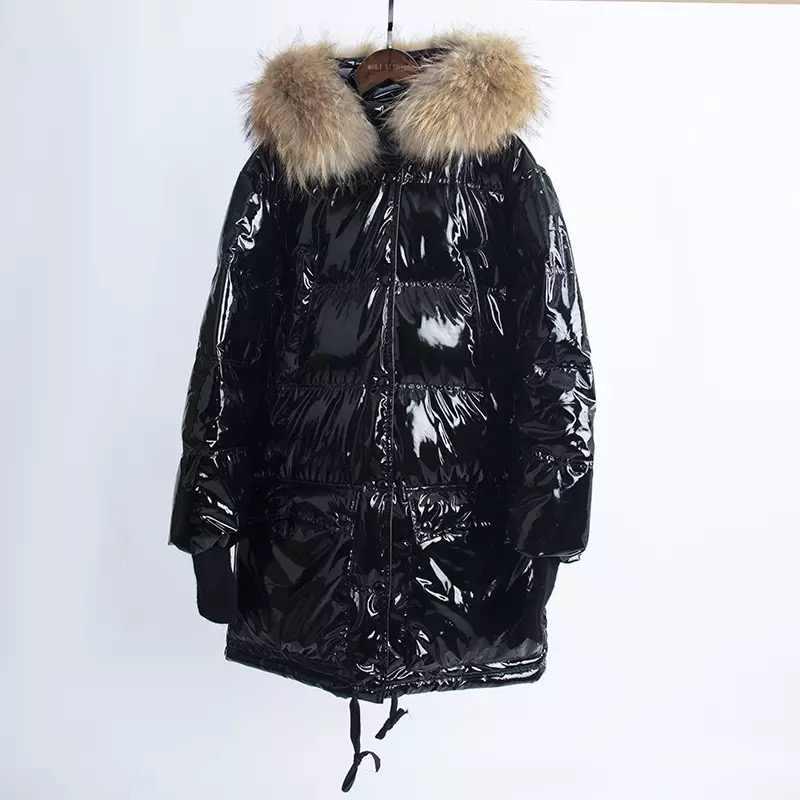 Женские куртки Длинная Куртка с капюшоном и воротником из натурального меха для женщин 2019 зимние женские пуховики больших размеров свободные глянцевые куртки верхняя одежда