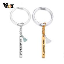 Vnox Customize Vertical Bar Key Chain Glossy Stainless Steel Key Ring with Tassel Female Women Accessory Personalize BFF Gift(China)