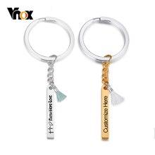 Vnox Anpassen Vertikale Bar Schlüssel Kette Glänzend Edelstahl Schlüssel Ring mit Quaste Weiblichen Frauen Zubehör Personalisieren BFF Geschenk