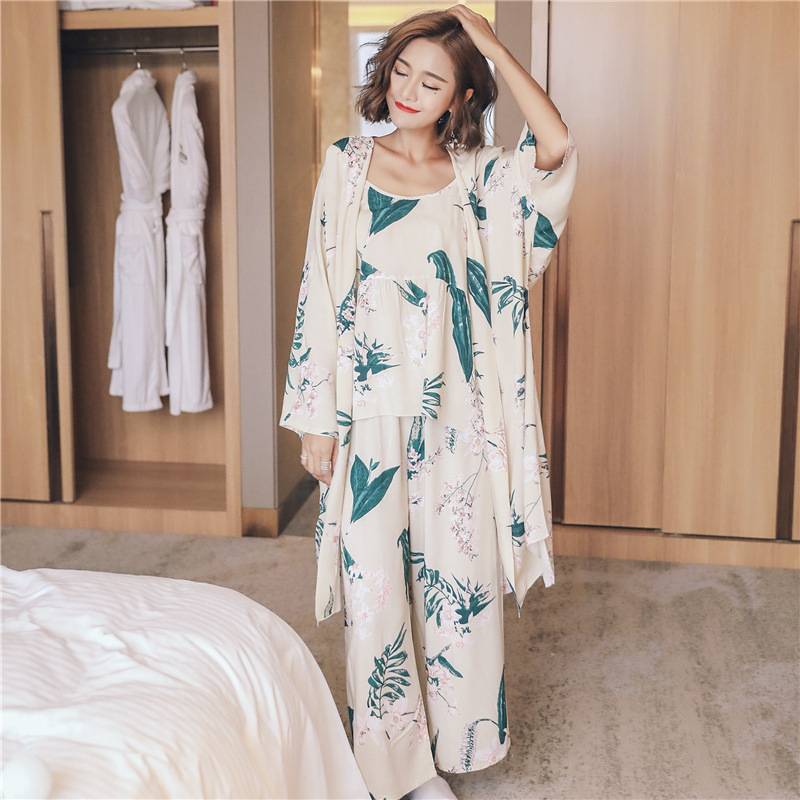 Autumn Woman   Pajamas     Sets   Cotton Pijama 3 Peices Sleepwear Flower Print Long Sleeves Robe+spaghetti Strap+pants Homewear Pyjama