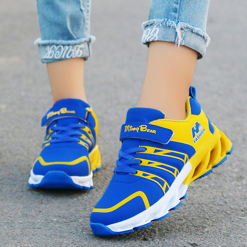 2019 Autumn Kids Shoes Boys Sneakers Breathable Patchwork Hook&Loop Sport Running Children Shoes For Girls Casual Shoes