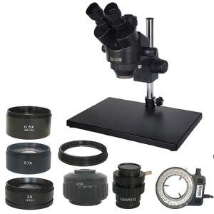 Image 1 - 러시아 무료 배송 7 45X 3.5X 90X Trinocular 스테레오 줌 0.5X 2.0X 보조 대물 렌즈가있는 대형 테이블 스탠드 현미경