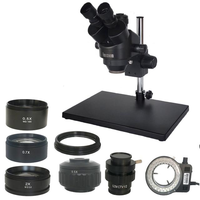 러시아 무료 배송 7 45X 3.5X 90X Trinocular 스테레오 줌 0.5X 2.0X 보조 대물 렌즈가있는 대형 테이블 스탠드 현미경