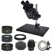 Russia Trasporto libero 7 45X 3.5X 90X Trinoculare Zoom Stereo Grande supporto da tavolo Microscopio con 0.5X 2.0X Ausiliario Lente Obiettivo