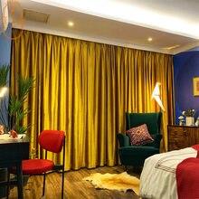 Nordic americano europeu high-end de luxo cor pura ouro veludo preto para fora cortinas para sala estar quarto decoração casa