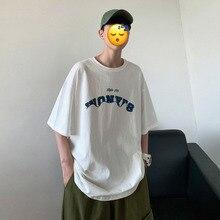 Summer T Shirt Men Fashion Letter Print Casual Short-sleeved T-shirt Men Streetwear Wild Loose Hip-hop Cotton Tshirt Man Tops стоимость
