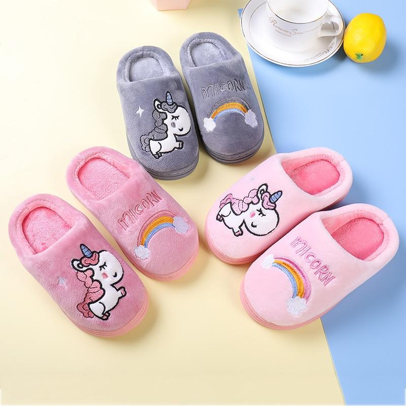 Winter Unicorn Slippers Kids Toddler Girl Flip Flop Baby Boys Fur Slides Cotton Indoor Shoes Warm Fluffy House Children Slipper