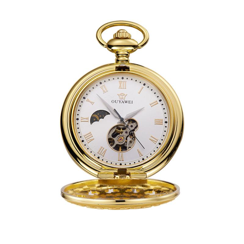 Ouyawei Mechanical Pocket Watch Men Top Quality Vintage Cutout Perspect Bottom Cover Manual Winding Pocket Watch Bracelet Clock