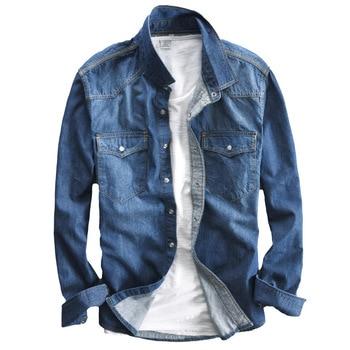 Men's long-sleeved solid denim shirt fashion brand Classic retro denim Pocket decoration Business shirt Spring and Autumn Tops 1