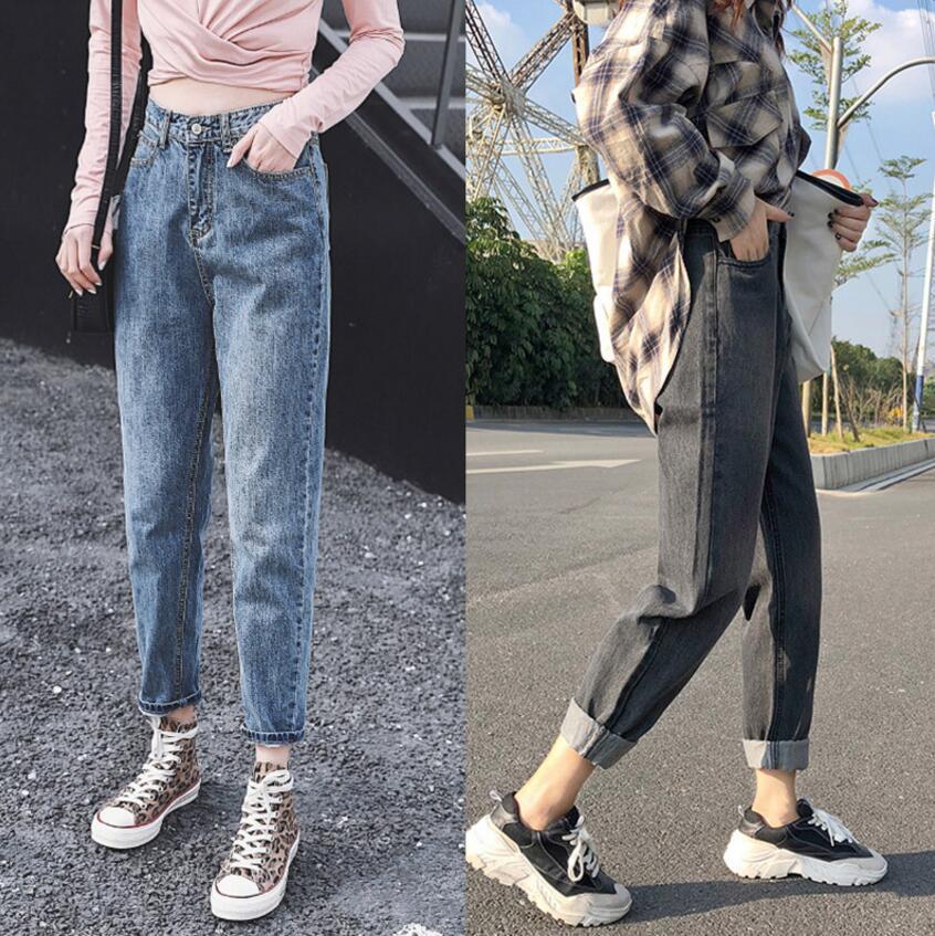 New Cotton Straight Jeans Women Elasticity High Waist Jeans Woman Plus Size Mom Jeans Black Loose Harem Sale Ankle Length Pants