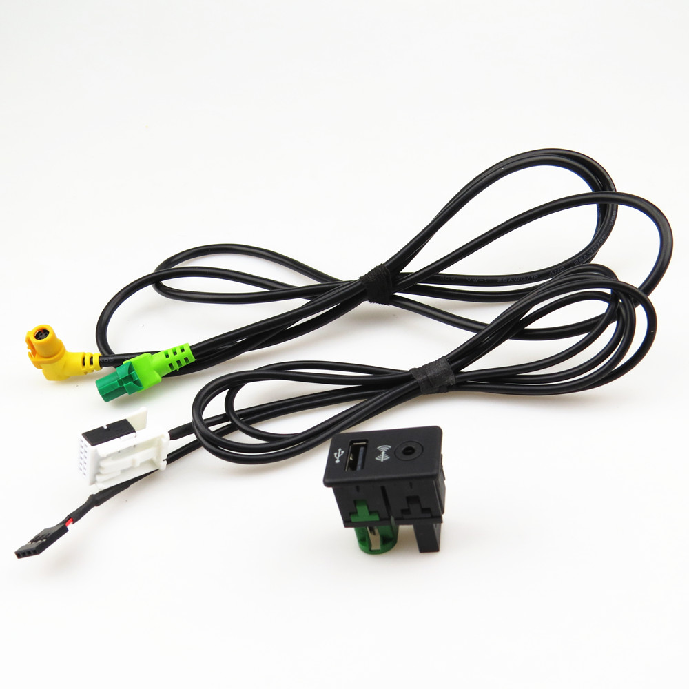 FHAWKEYEQ 1Set RCD510 <font><b>USB</b></font> + AUX Switch Cable Harness <font><b>Adapter</b></font> For VW CC Tiguan <font><b>Passat</b></font> <font><b>B6</b></font> B7 3CD 035 249 A 3CD 035 249A 3CD035249A image