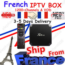 Meilleur français IPTV Box X96 mini Android TV Box avec 1200 + 1 an IPTV Europe France arabe afrique maroc football Smart IPTV Box(China)