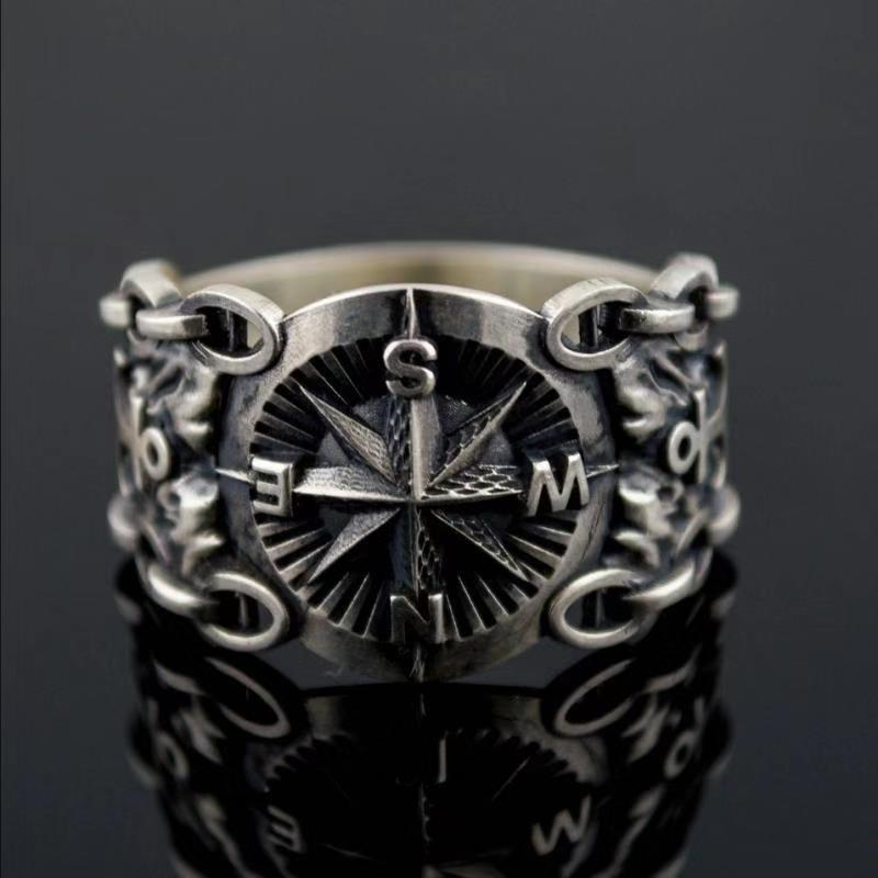Men's Fashion 316L Stainless Steel Viking Rings for Vintage Northern Europe Style Pirate Compass Rings Male Jewelry