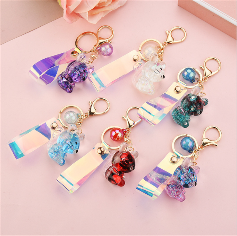 Acrylic Stereo Small Mouse Key Chain Personality Trend Magic Color Laser Leather Rope Bag Pendant Wholesale