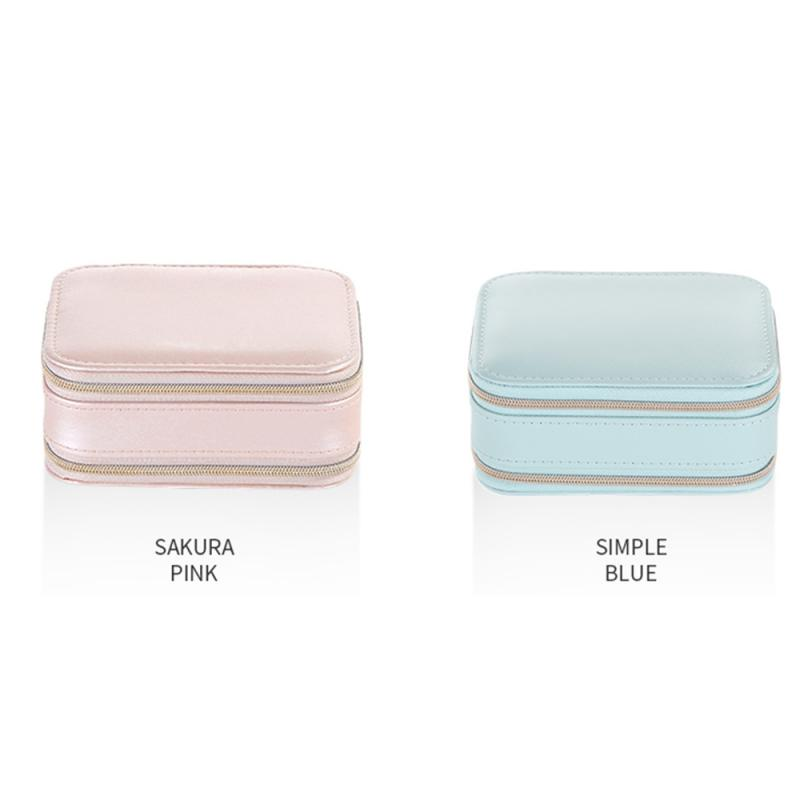 Creative Travel Portable Zipper Jewelry Box Earrings Earrings Jewelry Storage Box Multifunctional Jewelry Bag Solid Color Simple