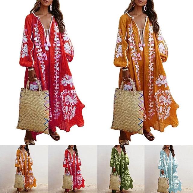 Loose Fit Long Sleeve Flower Dress Tassel V Neck Beach Sundress Fashion Lace-up Tassel Casual Long Dress Women Autumn Dresses 3