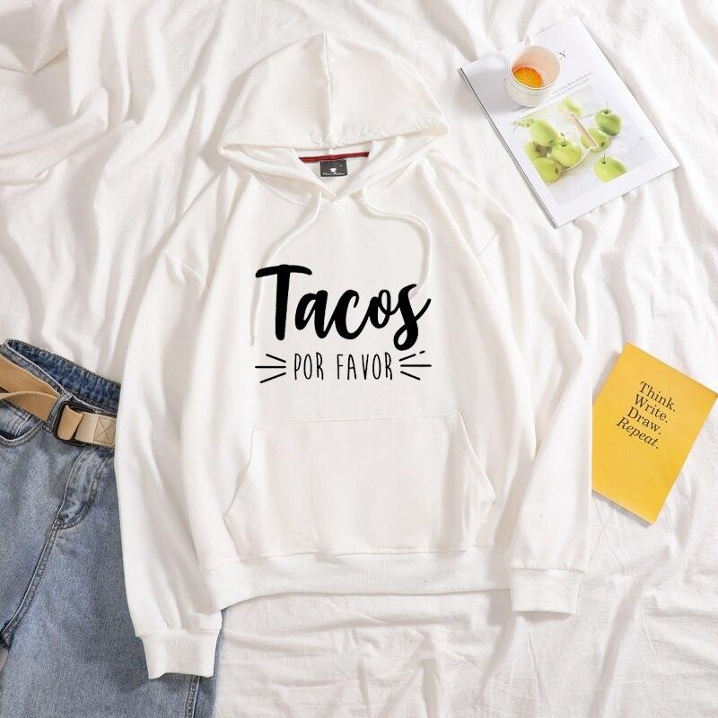 Купить новинка 2020 женские толстовки tacos por favor с принтом чистые
