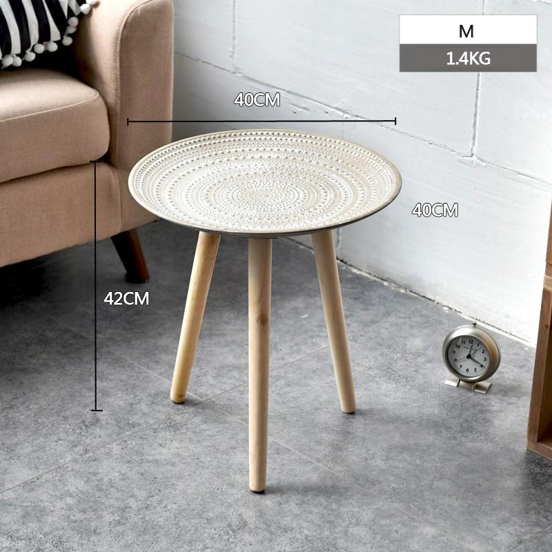 Creative Round Nordic Wood Coffee Table Storage Tea Fruit Snack Service Plate Tray Bed Home Table Living Room Table Sofa Side