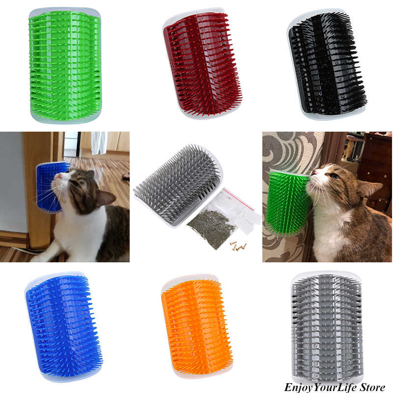 Cat Self Grooming Hair Accessorie With Catnip Angle Face Tickling Hair Removal Massage Brush Comb for Pet Dog Cat