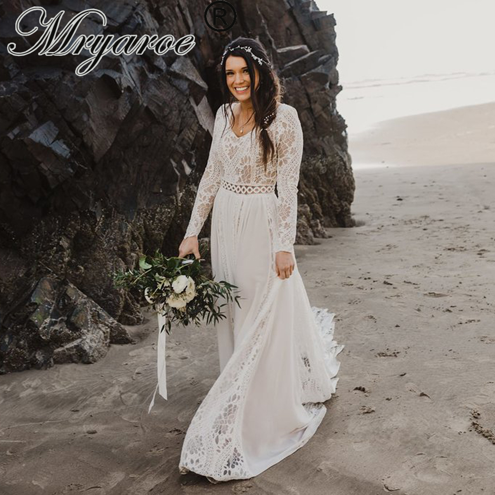 Mryarce Boho Chic Long Sleeve Modest Wedding Dress Lace Chiffon Unique Bridal Gowns Winter Wedding