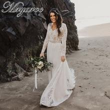 Mryarce Boho Chic uzun kollu mütevazı düğün elbisesi dantel şifon benzersiz gelinlikler kış düğün