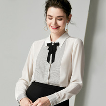 100% Silk Blouses Bow Tie White Shirt Autumn Long Sleeve Ladies Tops Women Black Clothes Luxury Casual Loose camisa za bluzka футболка bluzka цвет молочный