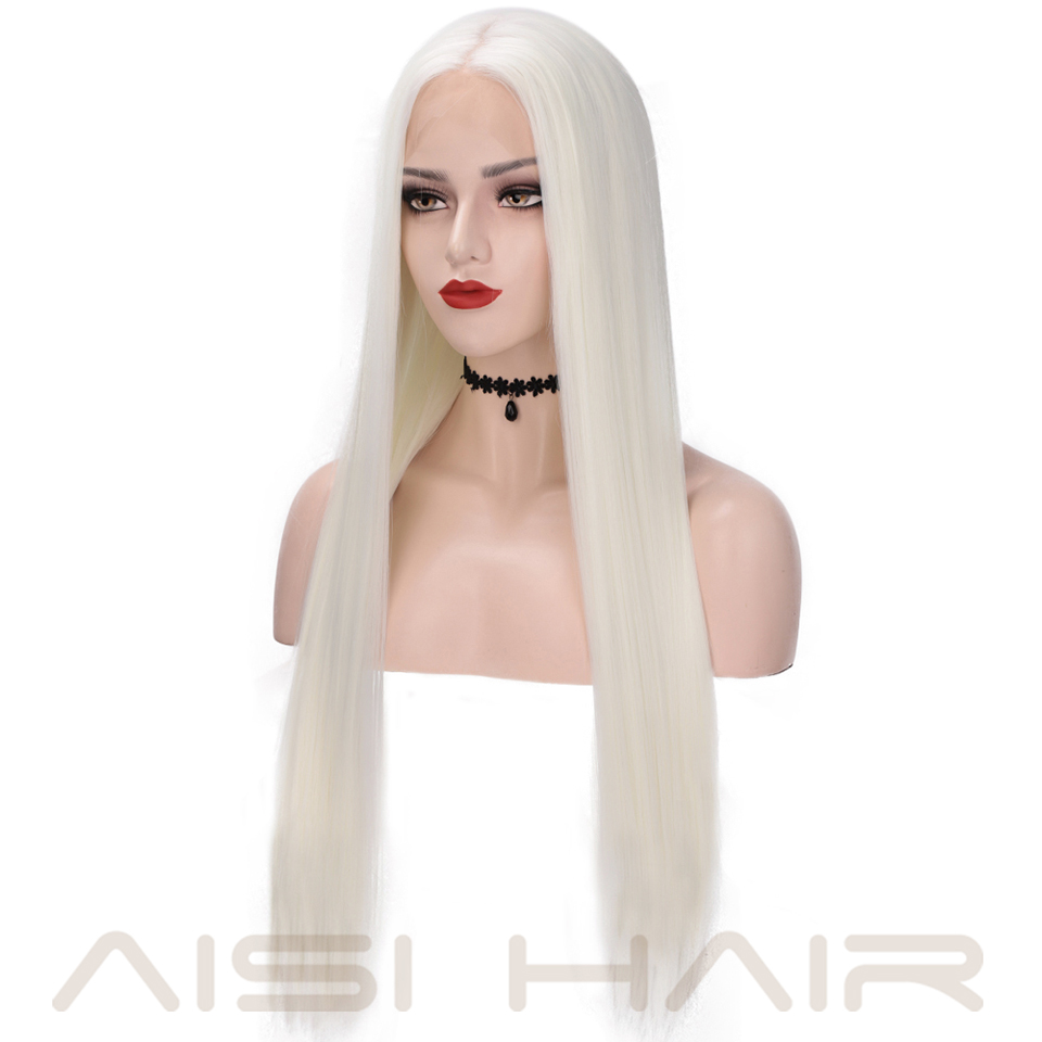 Image 2 - AISI HAIR White Synthetic Lace Front Wig Long Straight Wigs For Women 24Inch Middle Part Black Red Cosplay or Party Wigs 13X4Synthetic Lace Wigs   -