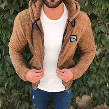 Mens New Fashion Casual Zipper Loose Double-Sided Plush Hooded  Jacket