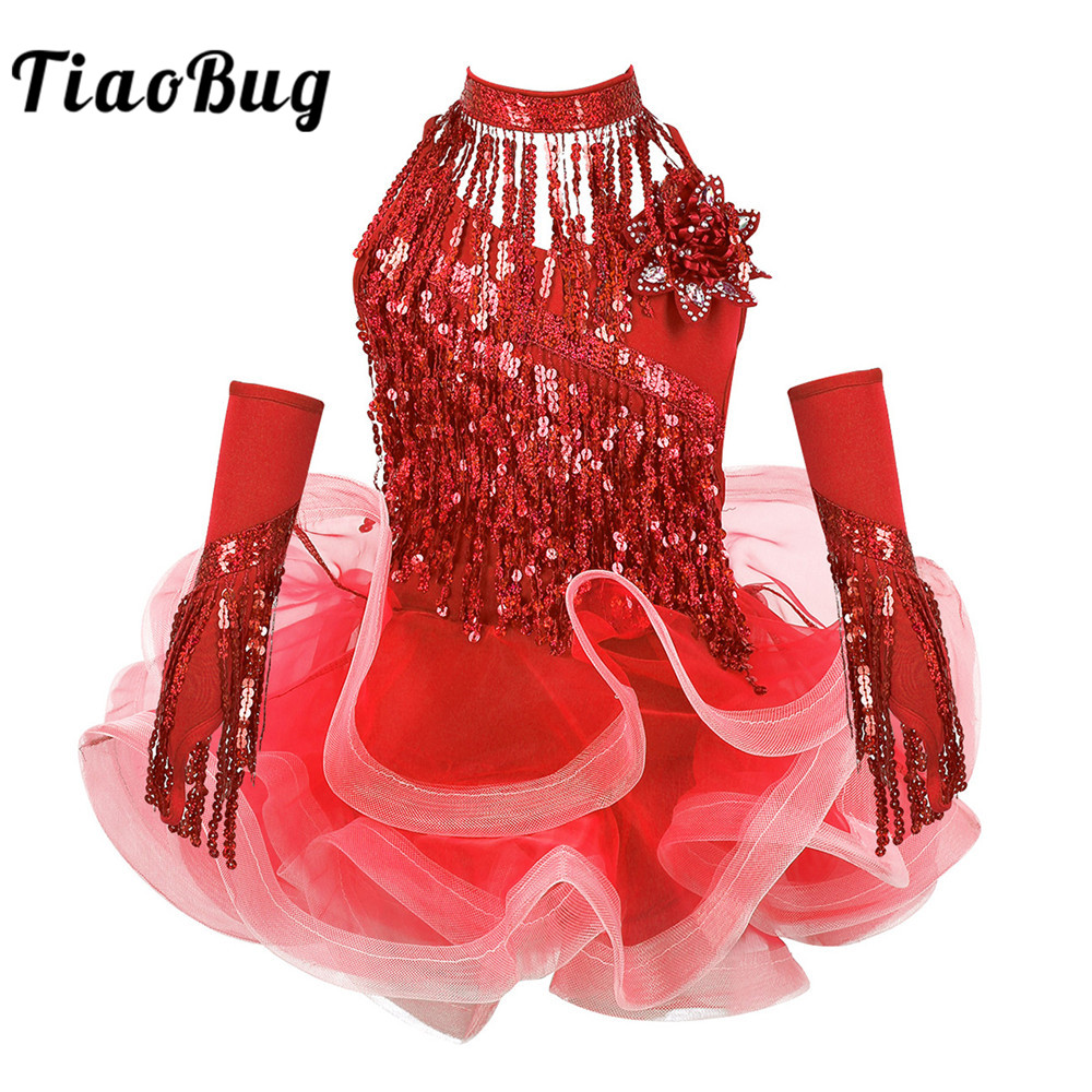 TiaoBug Kids Girls Sequins Tassels Tutu Latin Dance Dress With Shorts Choker And Arm Sleeves Set Samba Salsa Performance Costume