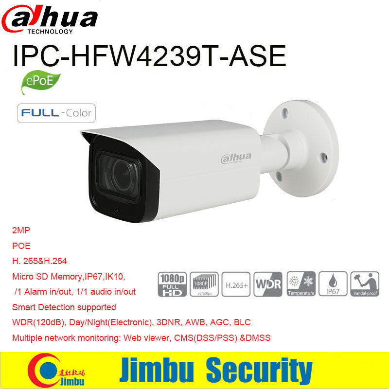 Dahua IP Camera POE 2MP  IPC-HFW4239T-ASE  starlight  1/1 Alarm 1/1 audio in/out Micro SD Slot Up To 128G  IP67, IK10 IVS