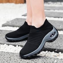 กีฬารองเท้าผู้หญิงรองเท้ากลางแจ้งรองเท้าผ้าใบรองเท้าแพลตฟอร์มWedgeรองเท้าเพิ่มความสูง 5 ซม.Breathableถุงเท้ารองเท้าZapatos Mujer