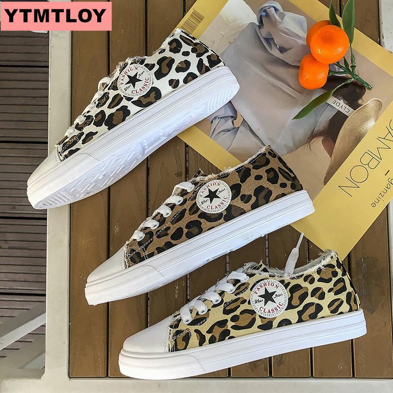 201919 Women's Sports Shoes Vulcanized Shoes Fashion Zapatos De Mujer's Fashion Leopard Print Adds Girls' New Fashion