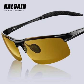NALOAIN okulary noktowizyjne soczewki polaryzacyjne przeciwodblaskowe UV400 metalowa rama żółte okulary jazdy dla mężczyzn kobiety kierowca samochodu R8177 tanie i dobre opinie Polaroid Aluminium Magnezu R8177-N