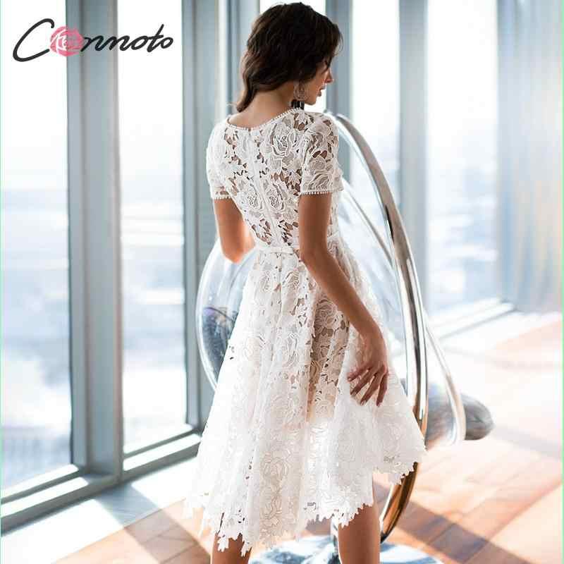 Conmoto Women Elegant White Embroidery Mid Dress Female Fashion High Waist Hollow out Short Sleeve Dress Party Vestido Plus Size