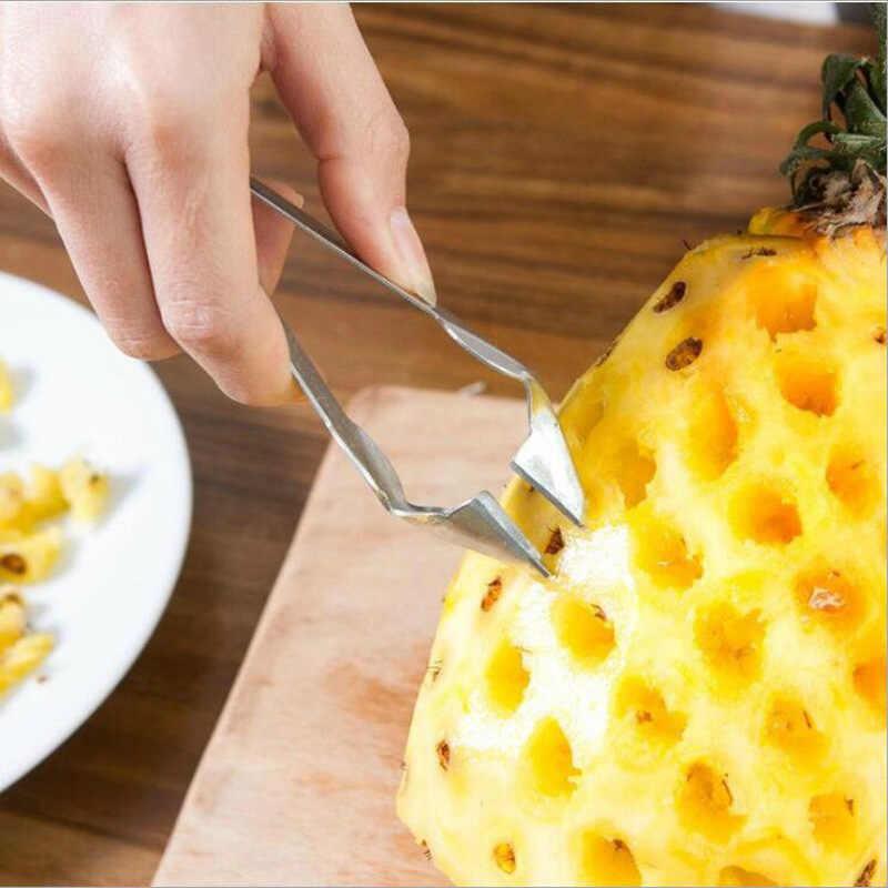 1PC 便利なフルーツパイナップルピースライサークリップカッター簡単パイナップルナイフフルーツサラダツールキッチンアクセサリー