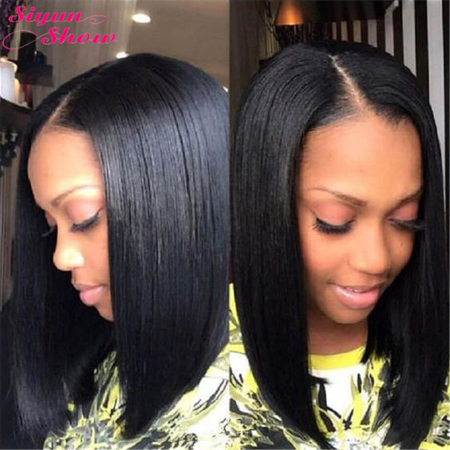 Siyun Show 4x4 Closure Wig Straight Human Hair Bob Wigs With Baby Hair 10A Remy Bob Lace Front Human Hair Wigs For Black Women