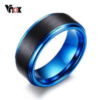 Vnox 8mm Two Tones Black Blue Men Ring Carbon Fiber Tungsten Wedding Bands for Bridegroom Casual Male Jewelry