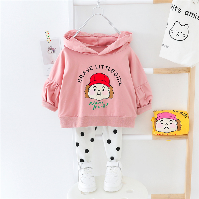 HYLKIDHUOSE 2020 Spring Baby Girls Clothing Sets Hooded Cartoon T Shirt Dot Pants Toddler Infant Clothes Child Vacation Costume
